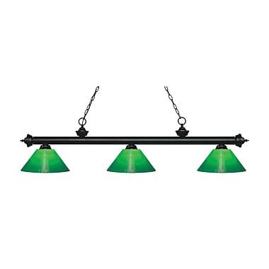 Z-Lite – Luminaire suspendu Riviera au fini noir mat pour îlot/table de billard 200-3MB-GCG14, 3 amp., boîtier vert
