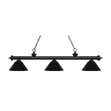 Z-Lite – Luminaire suspendu Riviera au fini noir mat pour îlot/table de billard 200-3MB-PBK, 3 amp., noir