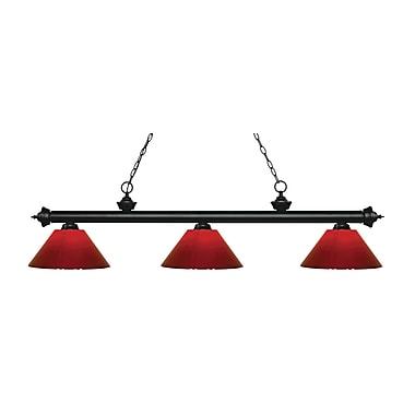 Z-Lite – Luminaire suspendu Riviera au fini noir mat pour îlot/table de billard 200-3MB-PRD, 3 amp., rouge