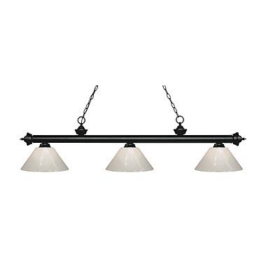 Z-Lite – Luminaire suspendu Riviera au fini noir mat pour îlot/table de billard 200-3MB-PWH, 3 amp., blanc