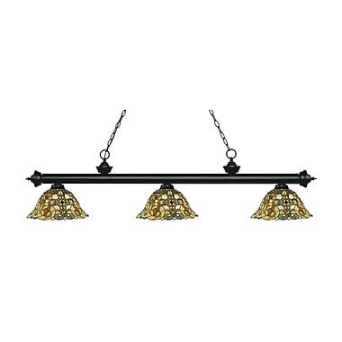 Z-Lite – Luminaire suspendu Riviera au fini noir mat 200-3MB-R14A, 3 amp., Tiffany multicolore