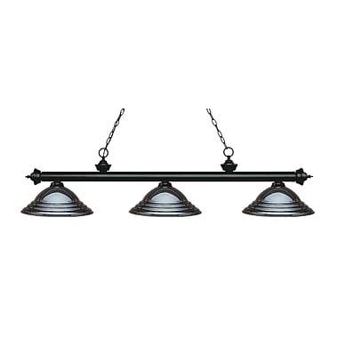 Z-Lite – Luminaire suspendu Riviera au fini noir mat pour îlot/table de billard 200-3MB-SGM, 3 amp., gris métallique relief