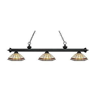 Z-Lite – Luminaire suspendu Riviera au fini noir mat 200-3MB-Z14-35, 3 amp., Tiffany multicolore