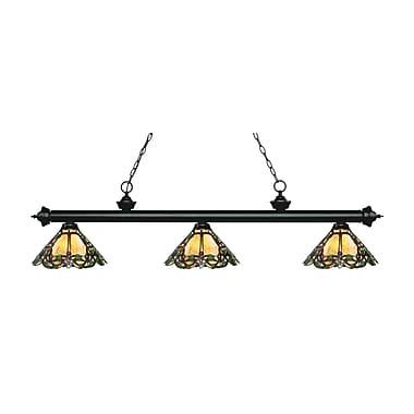 Z-Lite – Luminaire suspendu Riviera au fini noir mat 200-3MB-Z14-37, 3 amp., Tiffany multicolore