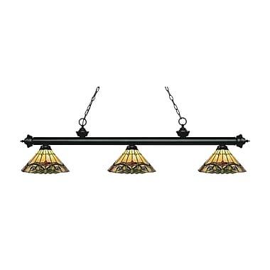 Z-Lite – Luminaire suspendu Riviera au fini noir mat 200-3MB-Z14-49, 3 amp., Tiffany multicolore