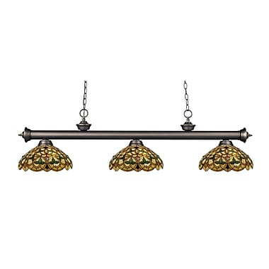 Z-Lite – Luminaire suspendu Riviera au fini bronze antique 200-3OB-C14, 3 amp., Tiffany multicolore
