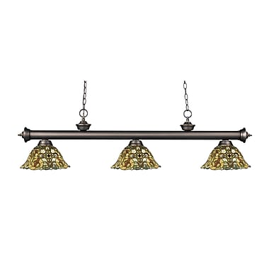 Z-Lite – Luminaire suspendu Riviera au fini bronze antique 200-3OB-R14A, 3 amp., Tiffany multicolore