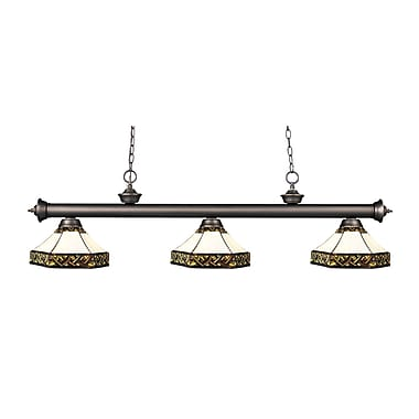 Z-Lite – Luminaire suspendu Riviera au fini bronze antique 200-3OB-Z16-30, 3 amp., Tiffany multicolore