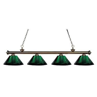 Z-Lite – Luminaire suspendu Riviera au fini laiton antique pour îlot/table de billard 200-4AB-ARG, 4 ampoules, vert
