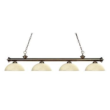 Z-Lite – Luminaire suspendu Riviera au fini laiton antique 200-4AB-DGM14, 4 amp., dôme, marbre doré