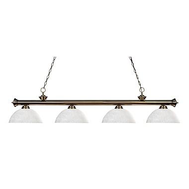 Z-Lite – Luminaire suspendu Riviera au fini laiton antique pour îlot/table de billard 200-4AB-DWL14, 4 amp., dôme, lin blanc
