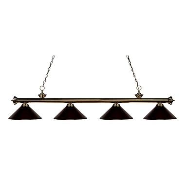 Z-Lite – Luminaire suspendu Riviera au fini laiton antique pour îlot/table de billard 200-4AB-MBRZ, 4 ampoules, bronze