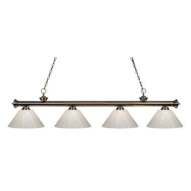 Z-Lite – Luminaire suspendu Riviera au fini laiton antique pour îlot/table de billard 200-4AB-PWH, 4 ampoules, blanc