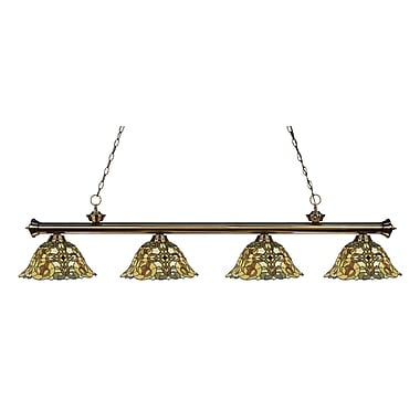Z-Lite 200-4AB-R14A Riviera Antique Brass Island/Billiard Light Fixture, 4 Bulb, Multi-Coloured Tiffany