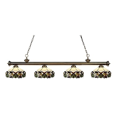 Z-Lite 200-4AB-Z14-33 Riviera Antique Brass Island/Billiard Light Fixture, 4 Bulb, Multi-Coloured Tiffany