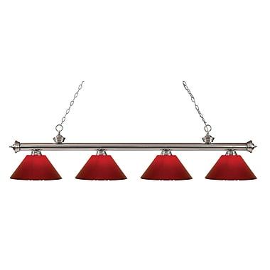 Z-Lite – Luminaire suspendu Riviera au fini nickel brossé pour îlot/table de billard 200-4BN-PRD, 4 amp., rouge