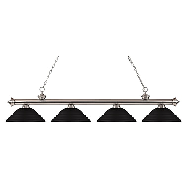 Z-Lite – Luminaire suspendu Riviera au fini nickel brossé pour îlot/table de billard 200-4BN-SMB, 4 amp., noir mat à relief