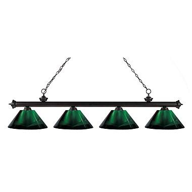 Z-Lite – Luminaire suspendu Riviera au fini bronze pour îlot/table de billard 200-4BRZ-ARG, 4 ampoules, vert
