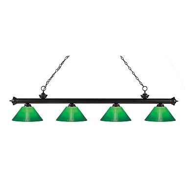 Z-Lite – Luminaire suspendu Riviera au fini bronze pour îlot/table de billard 200-4BRZ-GCG14, 4 amp., boîtier vert