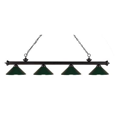 Z-Lite – Luminaire suspendu Riviera au fini bronze pour îlot/table de billard 200-4BRZ-MDG, 4 amp., vert foncé