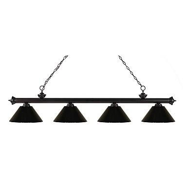 Z-Lite – Luminaire suspendu Riviera au fini bronze pour îlot/table de billard 200-4BRZ-PBK, 4 ampoules, noir