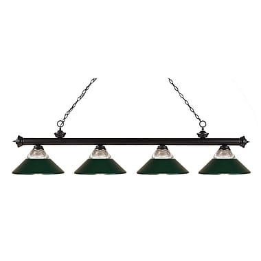 Z-Lite 200-4BRZ-RDG Riviera Bronze Island/Billiard Light Fixture, 4 Bulb, Clear Ribbed Glass and Metal Dark Green