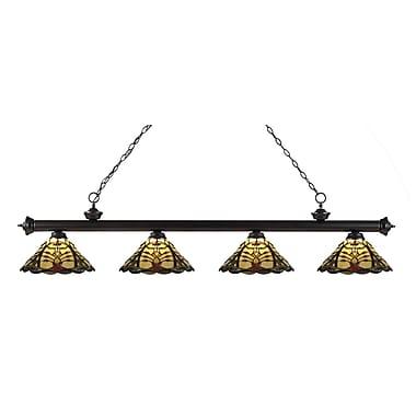 Z-Lite – Luminaire suspendu Riviera au fini bronze pour îlot/table de billard 200-4BRZ-Z14-46, 4 ampoules, Tiffany multicolore