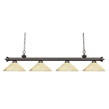 Z-Lite – Luminaire suspendu Riviera au fini bronze antique pour îlot/table de billard 200-4OB-AGM14, 4 ampoules, marbre doré