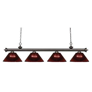 Z-Lite – Luminaire suspendu Riviera au fini bronze antique pour îlot/table de billard 200-4OB-ARBG, 4 ampoules, bourgogne