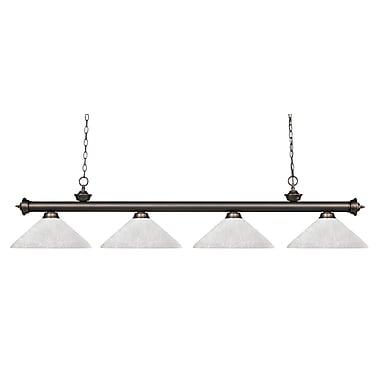 Z-Lite – Luminaire suspendu Riviera au fini bronze antique pour îlot/table de billard 200-4OB-AWL14, 4 ampoules, lin blanc