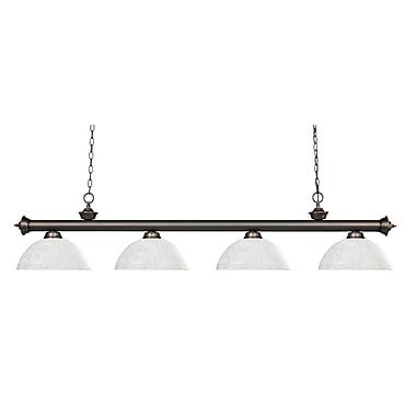Z-Lite – Luminaire suspendu Riviera au fini bronze antique 200-4OB-DWL14, 4 amp., dôme, lin blanc