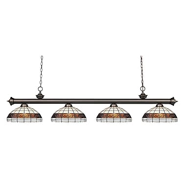 Z-Lite – Luminaire suspendu Riviera au fini bronze antique 200-4OB-F14-1, 4 amp., Tiffany multicolore