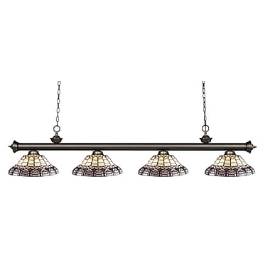Z-Lite – Luminaire suspendu Riviera au fini bronze antique 200-4OB-H14-4, 4 amp., Tiffany multicolore