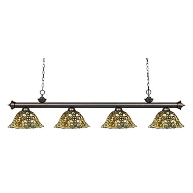 Z-Lite – Luminaire suspendu Riviera au fini bronze antique 200-4OB-R14A, 4 amp., Tiffany multicolore