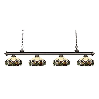 Z-Lite – Luminaire suspendu Riviera au fini bronze antique 200-4OB-Z14-33, 4 amp., Tiffany multicolore