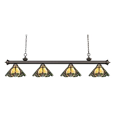 Z-Lite – Luminaire suspendu Riviera au fini bronze antique 200-4OB-Z14-37, 4 amp., Tiffany multicolore