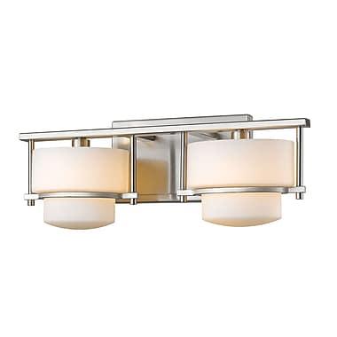 Z-Lite 3030-2V-BN Porter Vanity Light Fixture, 2 Bulb, Matte Opal