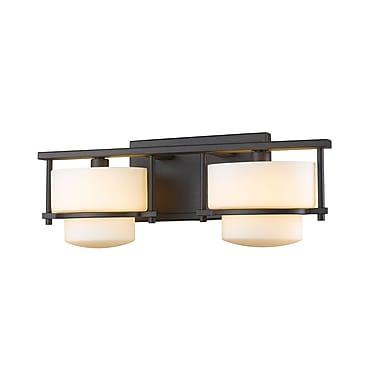 Z-Lite Porter Vanity Light, Bronze, Matte Opal Glass Shade (3030-2V-BRZ-LED)