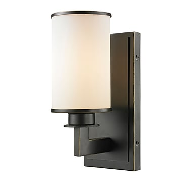 Z-Lite 413-1S Savannah Wall Sconce Light Fixture, 1 Bulb, Matte Opal