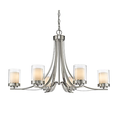 Z-Lite 426-6-BN Willow Chandelier Light Fixture, 6 Bulb, Inner Matte Opal & Outer Clear