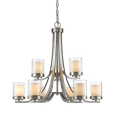 Z-Lite – Lustre Willow 426-9-BN, 9 ampoules, intérieur opale mate et extérieur transparent