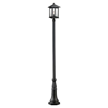 Z-Lite – Luminaire extérieur Portland 531PHBR-518P-BK, 1 ampoule, biseauté transparent