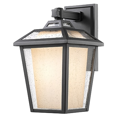 Z-Lite – Luminaire extérieur Memphis 532B-BK, 1 ampoule, transparent à grains + opale mate