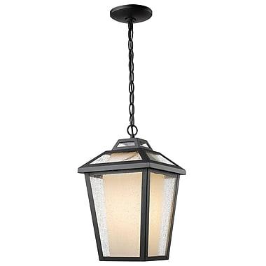 Z-Lite – Luminaire extérieur Memphis 532CHM-BK, 1 ampoule, transparent à grains + opale mate