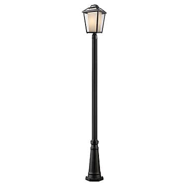 Z-Lite – Luminaire extérieur Memphis 532PHBR-519P-BK, 1 ampoule, transparent à grains + opale mate