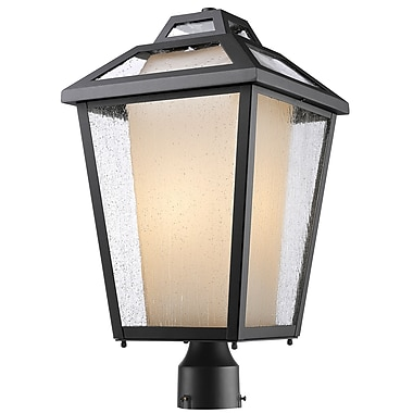 Z-Lite 532PHBR-BK Memphis Outdoor Light Fixture, 1 Bulb, Clear Seedy + Matte Opal