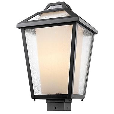 Z-Lite – Luminaire extérieur Memphis 532PHBS-BK, 1 ampoule, transparent à grains + opale mate