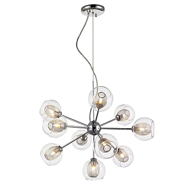Z-Lite 905-10C Auge Chandelier Light Fixture, Number of Bulbs: 10, Clear + Iron Mesh
