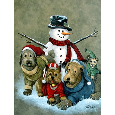 Caroline's Treasures Gather Your Friends Snowman w/ Dogs Vertical Flag