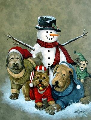 Caroline's Treasures Gather Your Friends Snowman w/ Dogs Vertical Flag